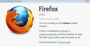 About Dialog box for Mozilla Firefox 17