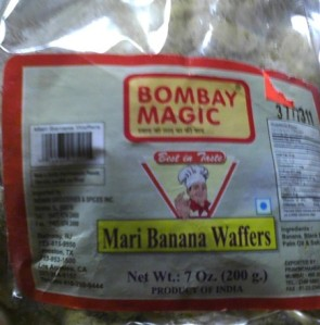 Sealed bag of Bombay Magic Mari Banana Waffers