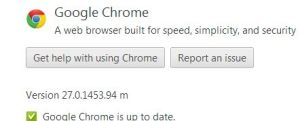 Google Chrome 27 about